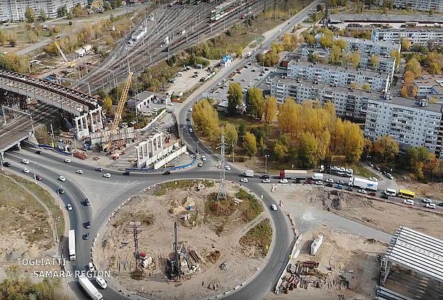 Опубликована свежая видеозапись строительства развязки в Тольятти